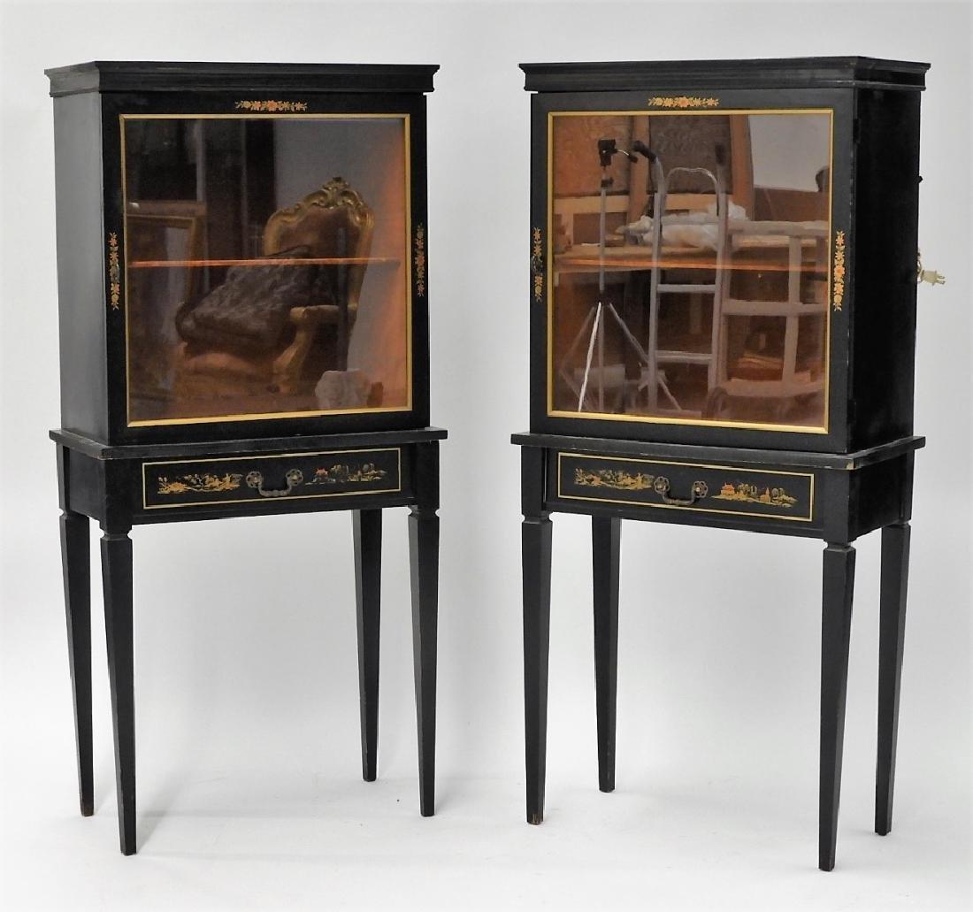 PR American Chinoiserie Decorated Vitrine Cabinets