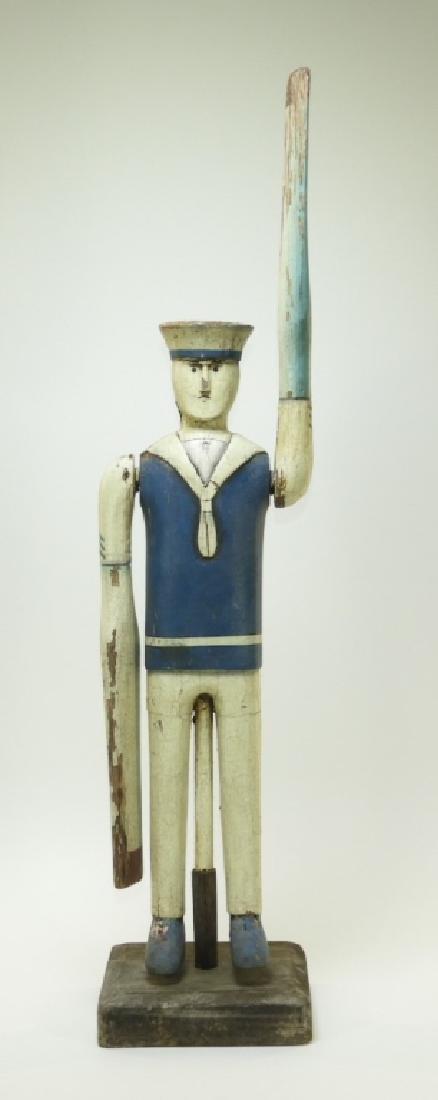 American Folk Art Carved Wood Sailor Whirligig
