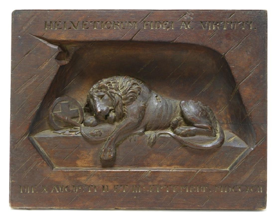Swiss Lion of Lucerne Monument Carved Wood Panel