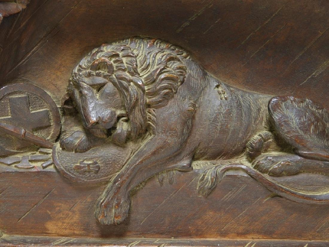 Swiss Lion of Lucerne Monument Carved Wood Panel - 2