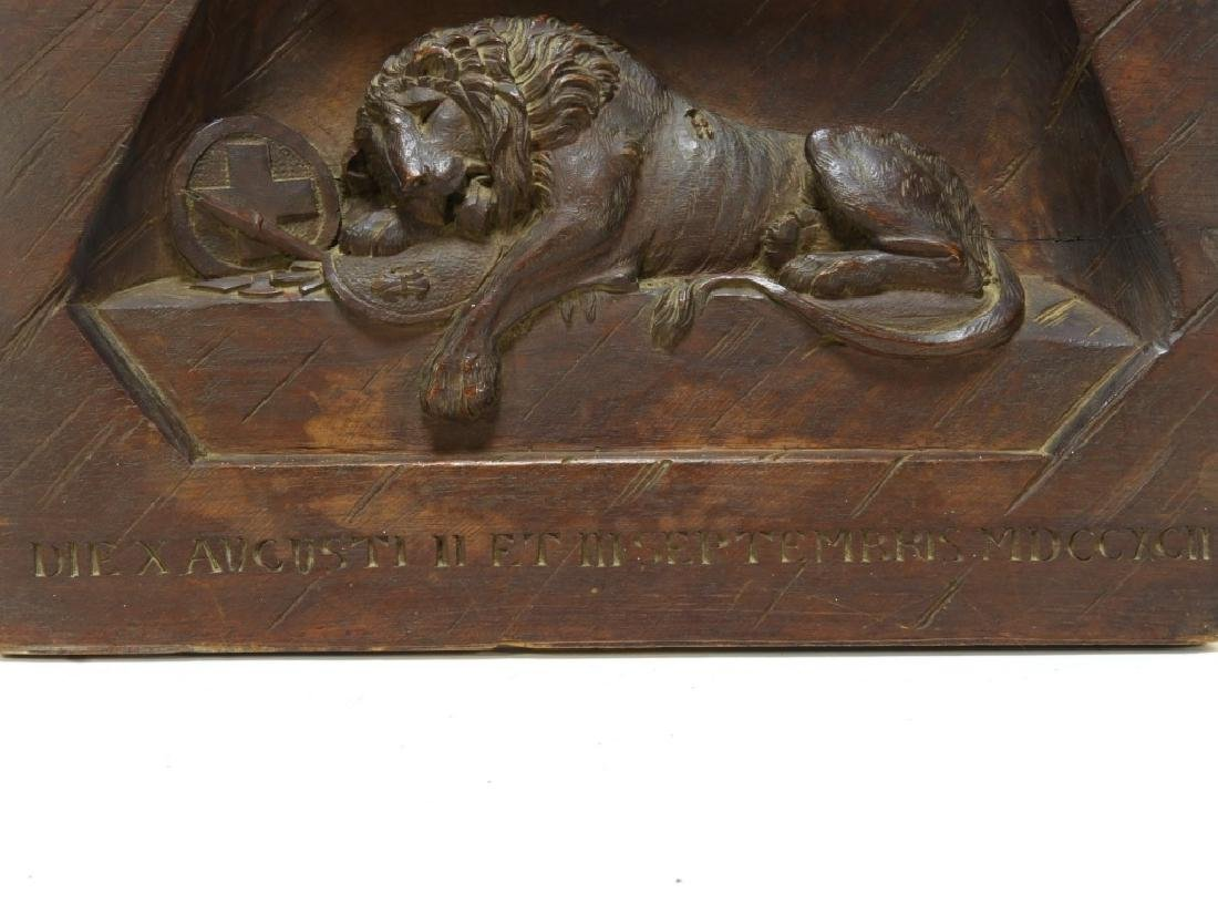 Swiss Lion of Lucerne Monument Carved Wood Panel - 4