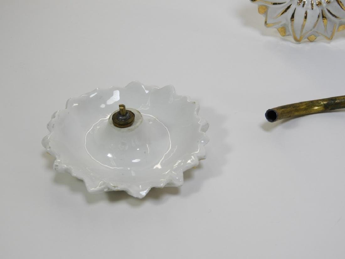 PR 19C. Gilt Tole Porcelain Curtain Tie Backs - 6