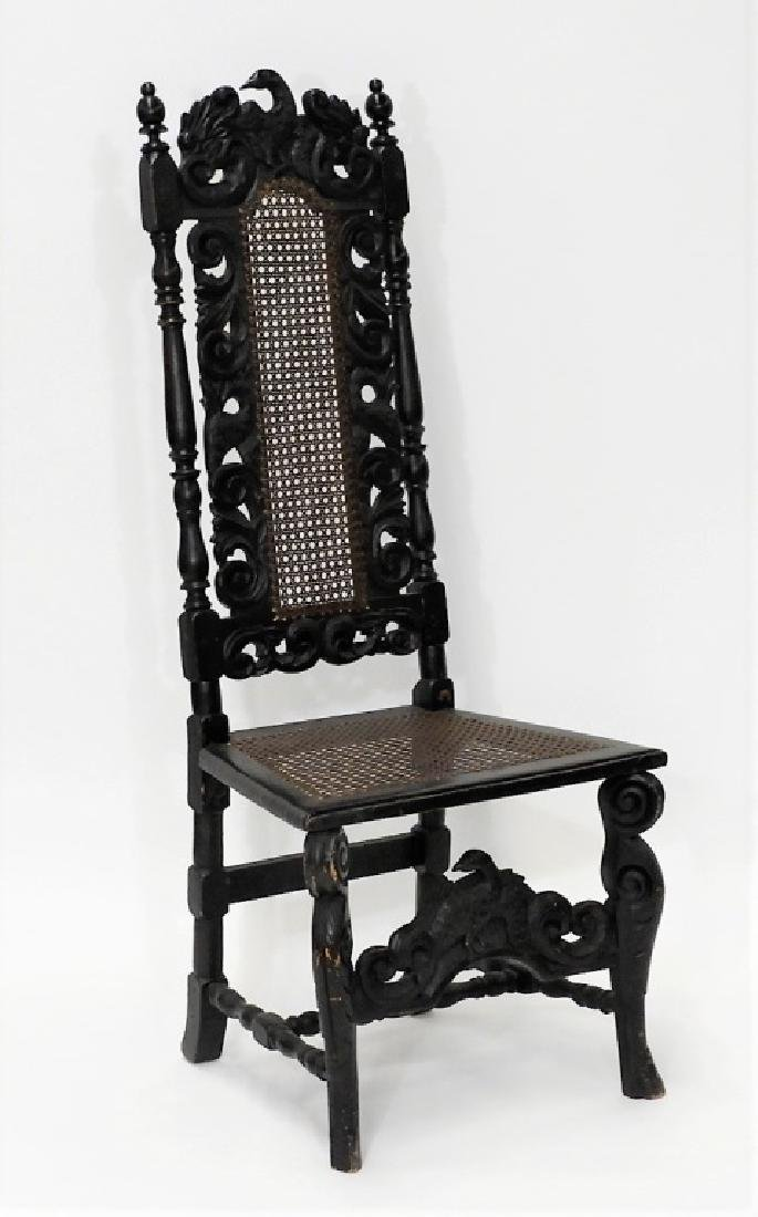 English Jacobean Style Phoenix Bird Side Chair