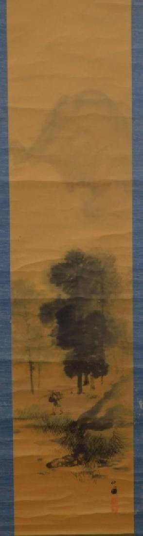 Chinese Man in Mountain Landscape Scroll Painting