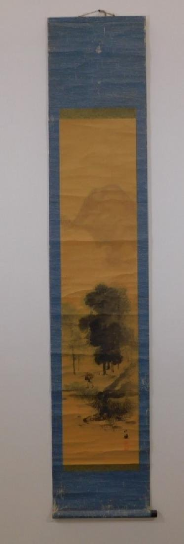Chinese Man in Mountain Landscape Scroll Painting - 2