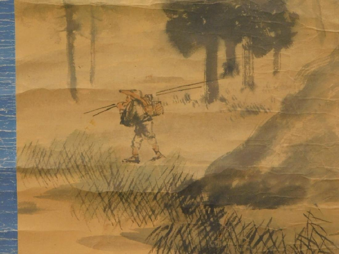 Chinese Man in Mountain Landscape Scroll Painting - 4