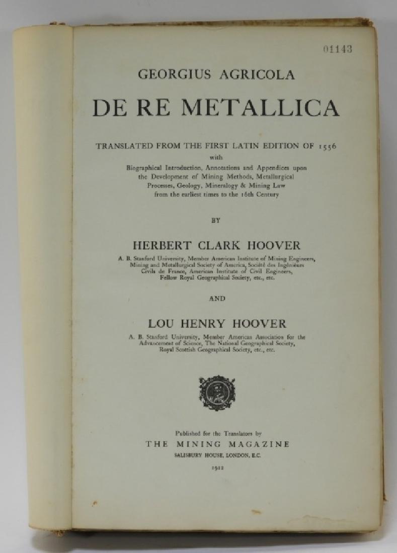 1912 Herbert Hoover Trans Agricola De Re Metallica