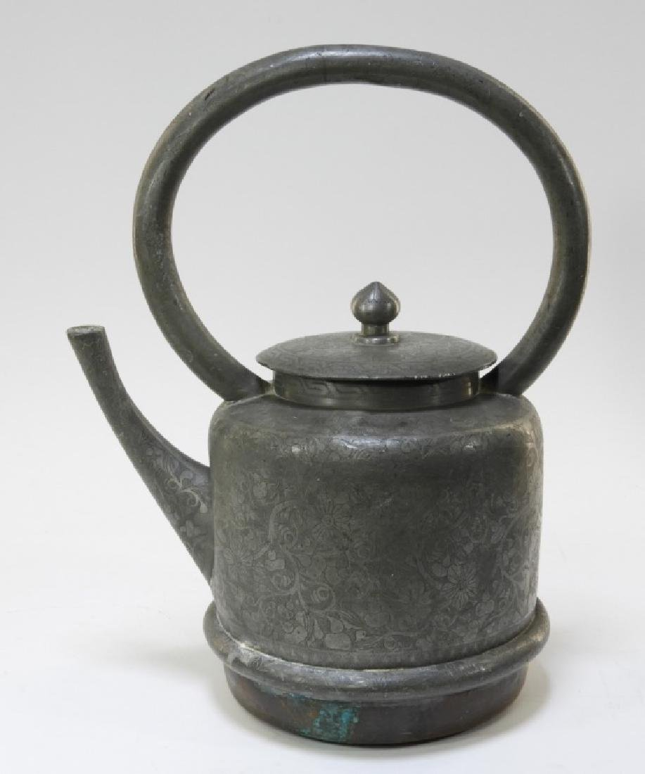 19C. Chinese Pewter & Copper Teapot