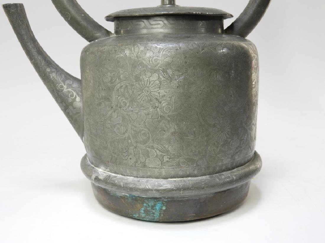 19C. Chinese Pewter & Copper Teapot - 3