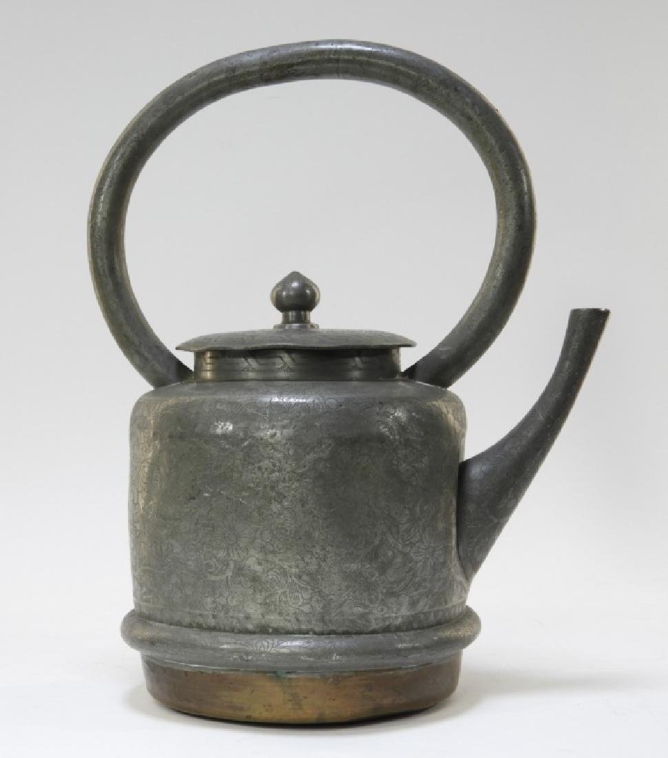 19C. Chinese Pewter & Copper Teapot - 4
