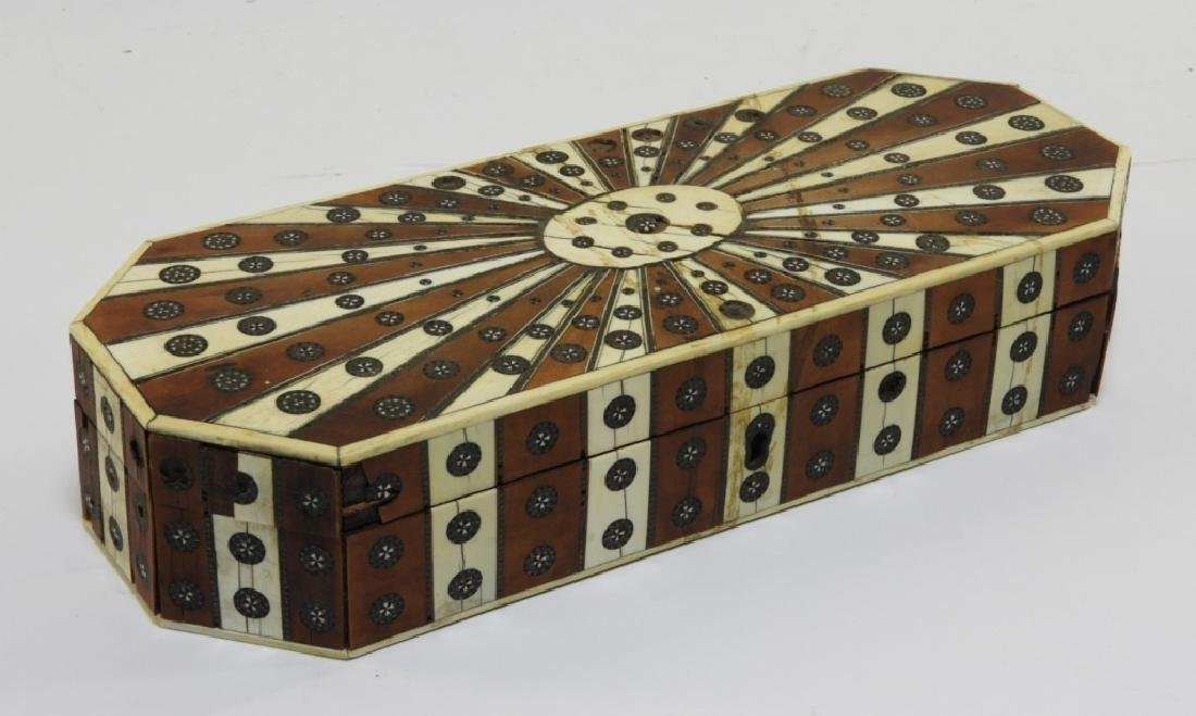 19C Anglo-Indian Sandalwood Sadeli Bone Inlaid Box
