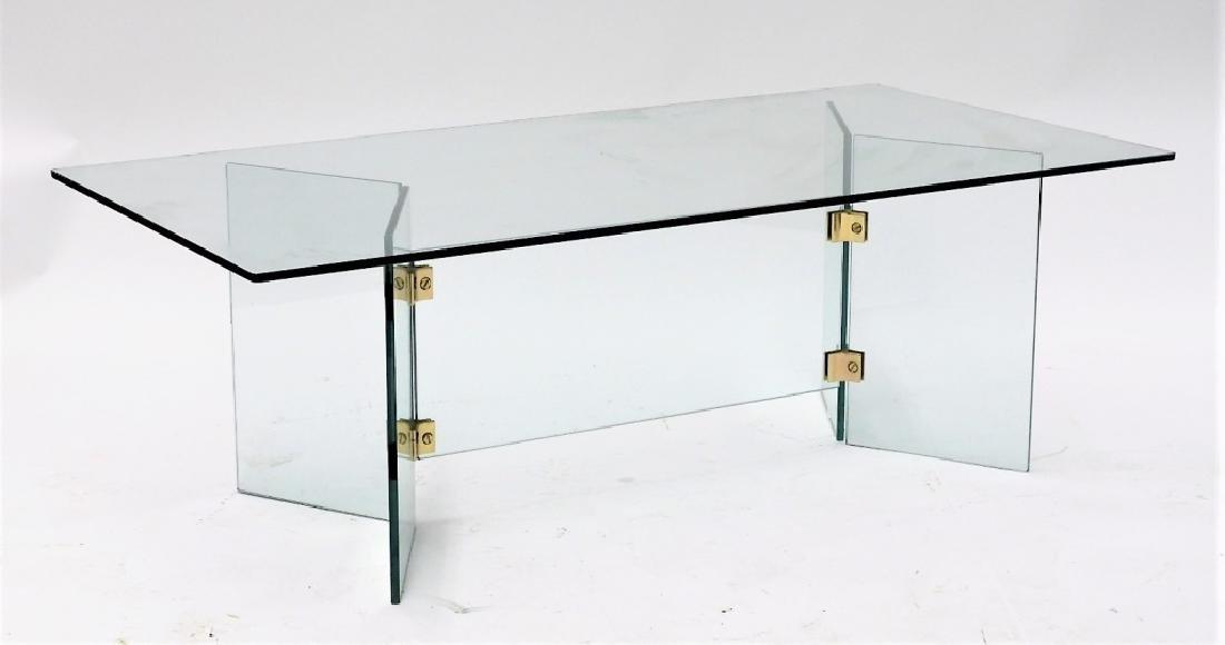 C.1970 MCM Hollywood Regency Glass Coffee Table