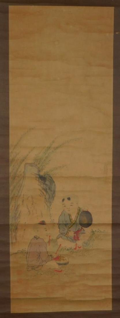 Chinese Scroll Painting of Musicians in Landscape