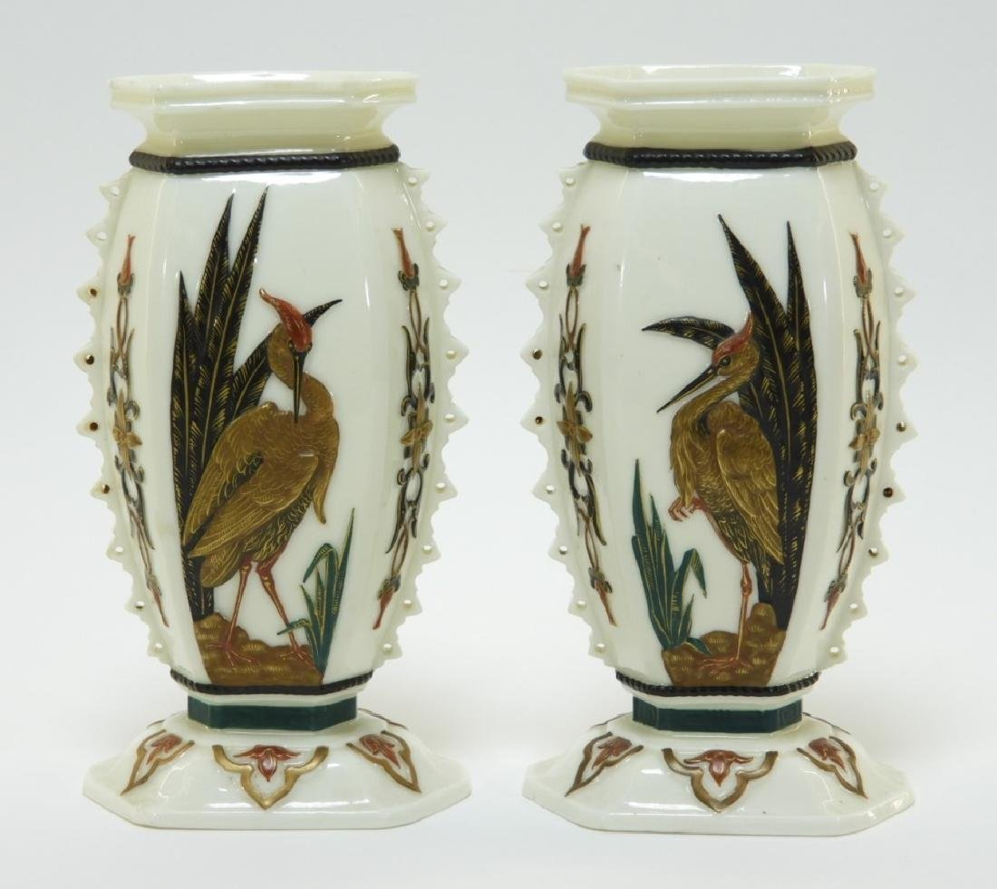PR Royal Worcester Aesthetic Opposed Avian Vases