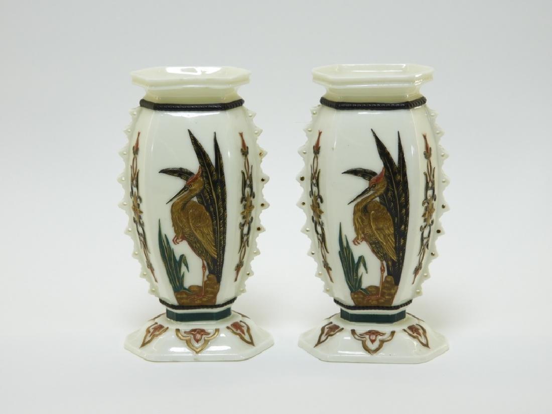 PR Royal Worcester Aesthetic Opposed Avian Vases - 2
