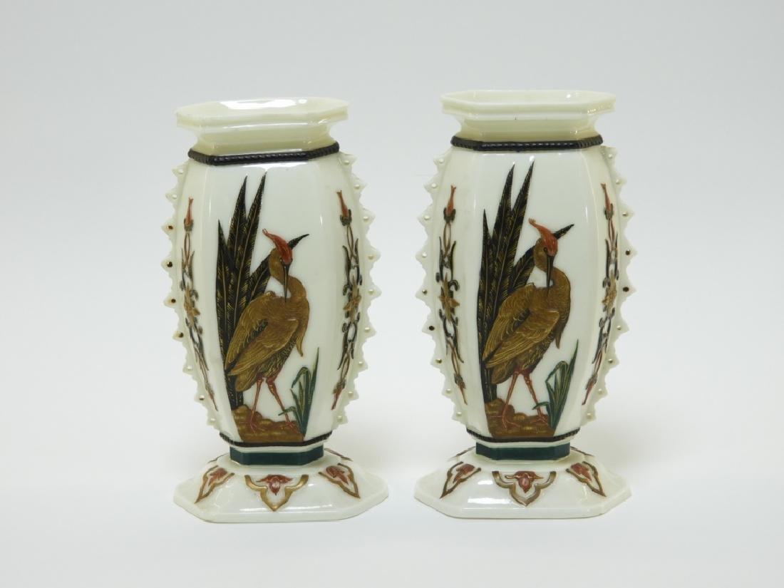 PR Royal Worcester Aesthetic Opposed Avian Vases - 3