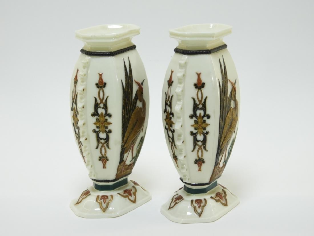 PR Royal Worcester Aesthetic Opposed Avian Vases - 4
