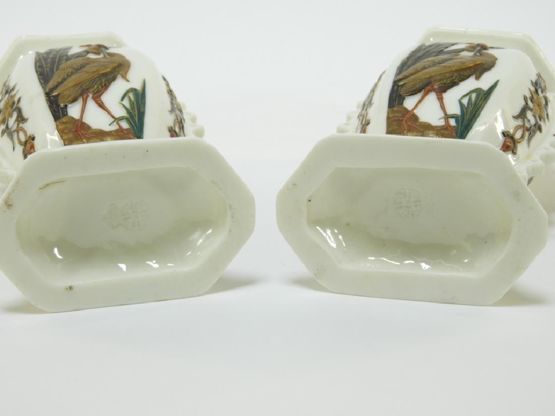PR Royal Worcester Aesthetic Opposed Avian Vases - 6