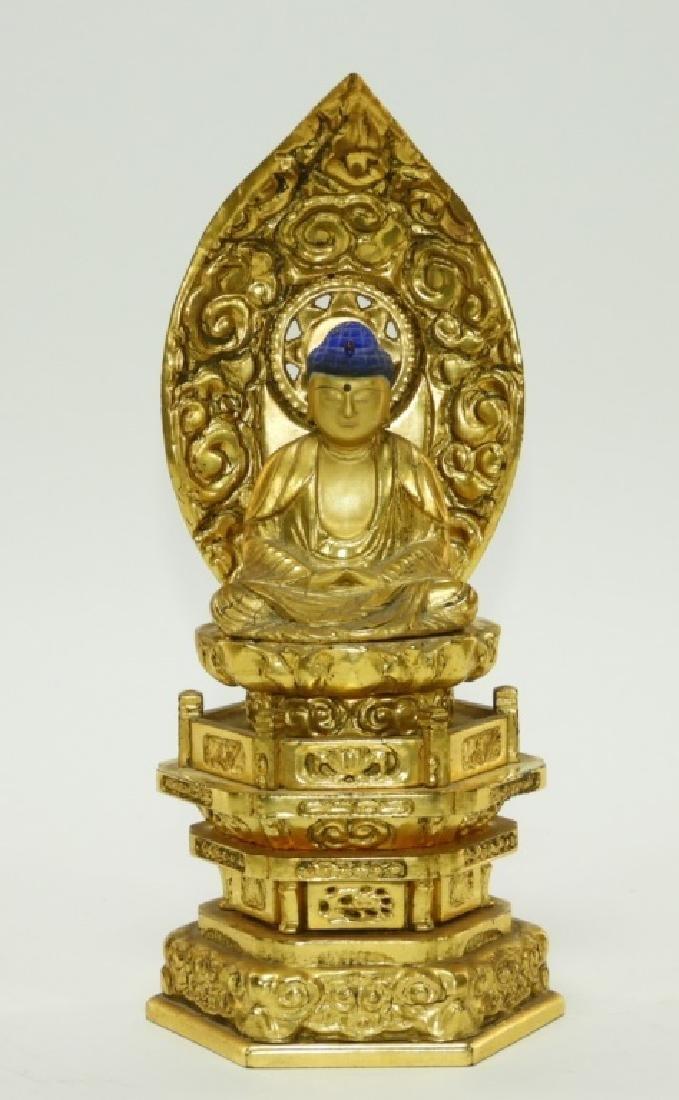 Japanese Gilt Lacquer Wood Kannon Buddha Figure