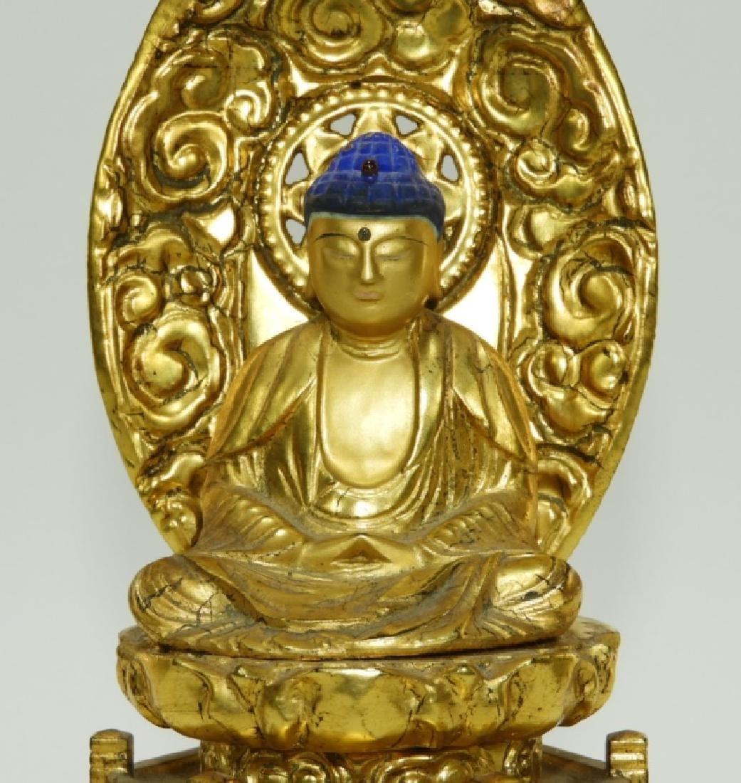 Japanese Gilt Lacquer Wood Kannon Buddha Figure - 3