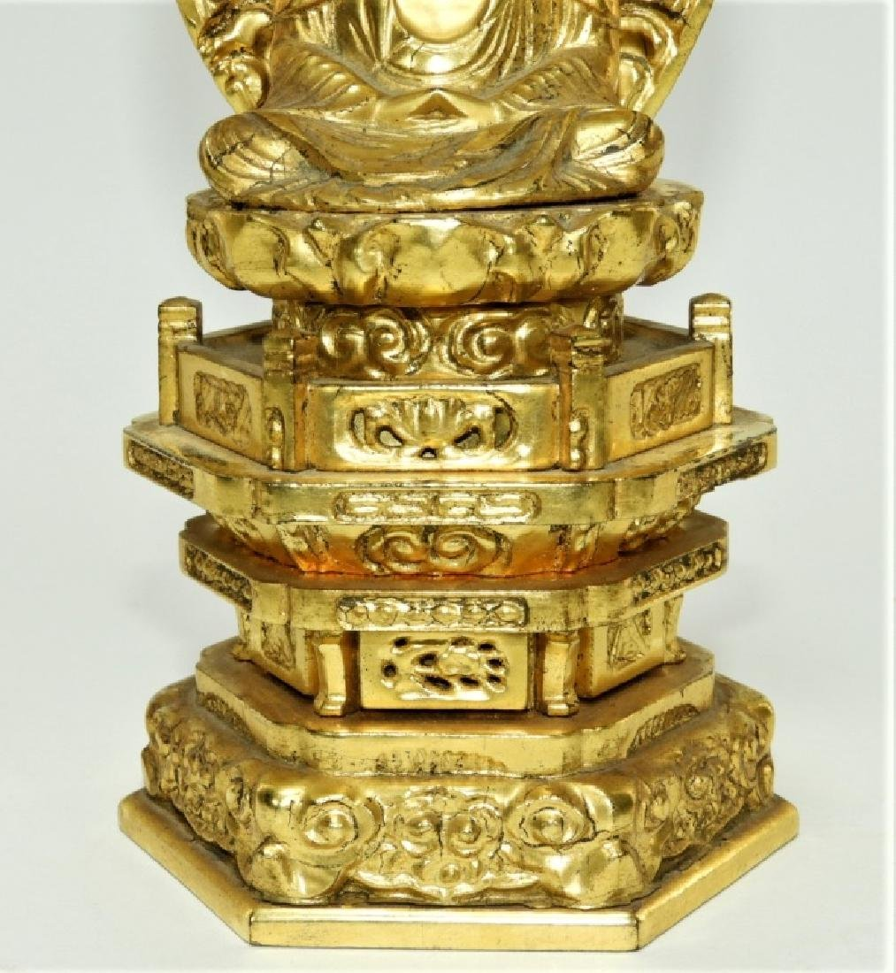 Japanese Gilt Lacquer Wood Kannon Buddha Figure - 4
