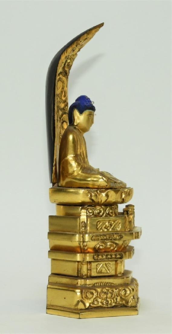 Japanese Gilt Lacquer Wood Kannon Buddha Figure - 5
