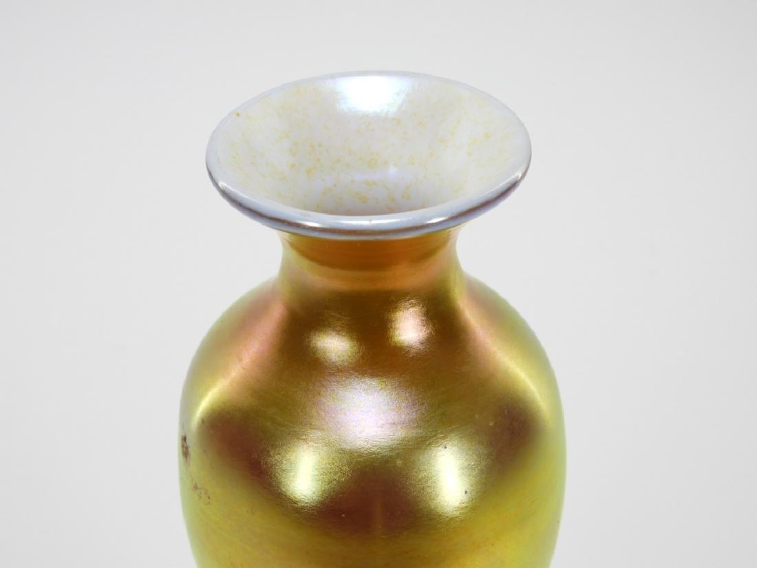 Attrib. Steuben Aurene Calcite Art Glass Vase Lamp - 2