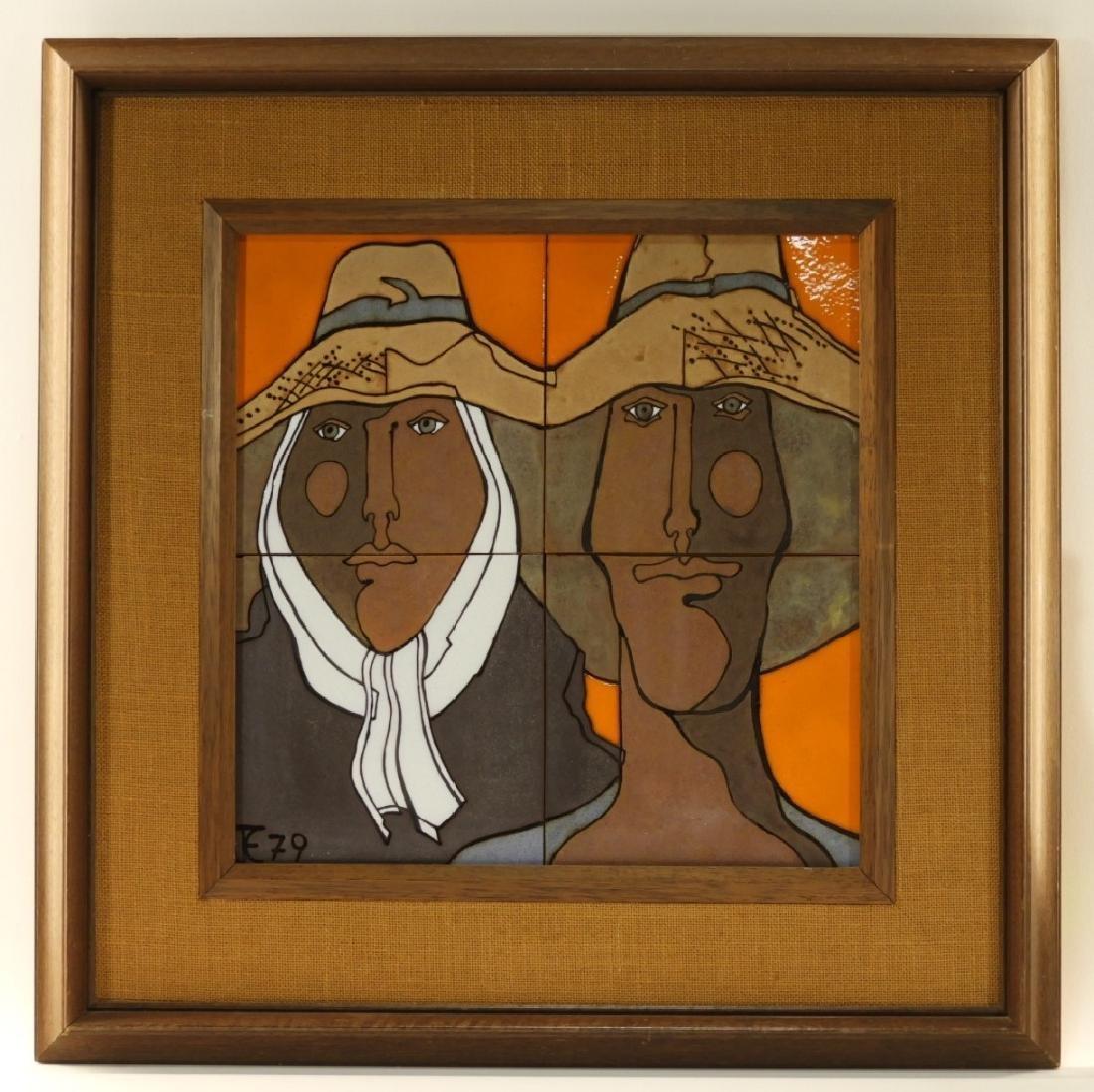 Mexican Modernist Figurative Ceramic Portrait Tile