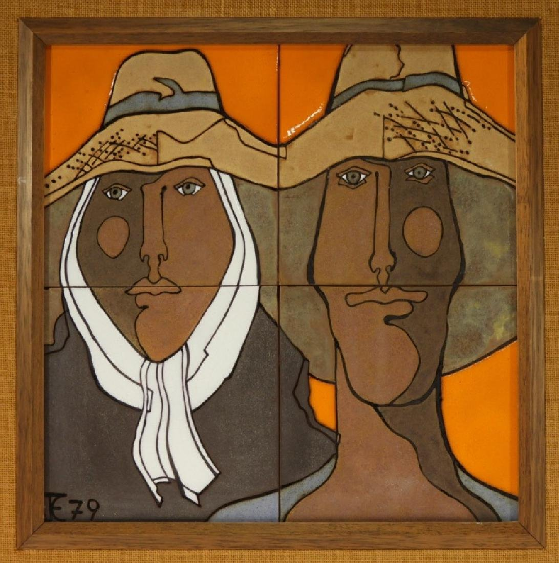 Mexican Modernist Figurative Ceramic Portrait Tile - 2