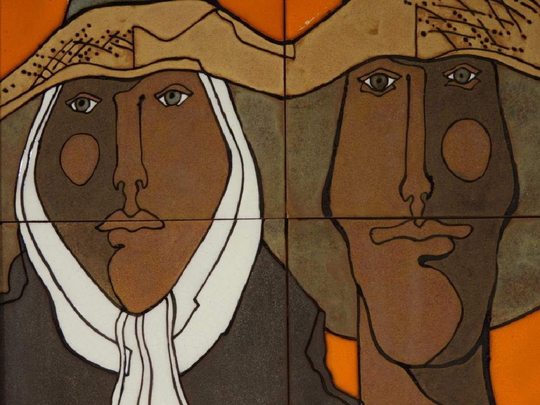 Mexican Modernist Figurative Ceramic Portrait Tile - 3