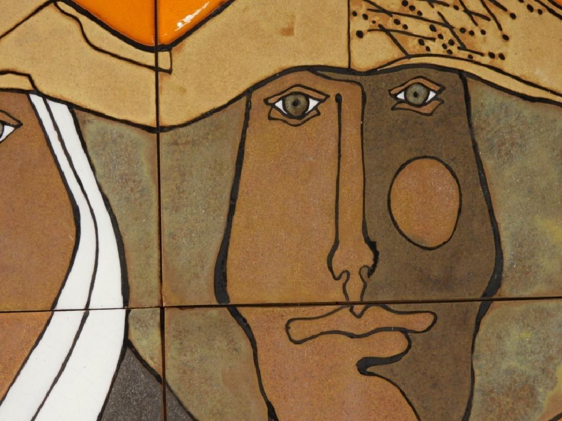 Mexican Modernist Figurative Ceramic Portrait Tile - 4