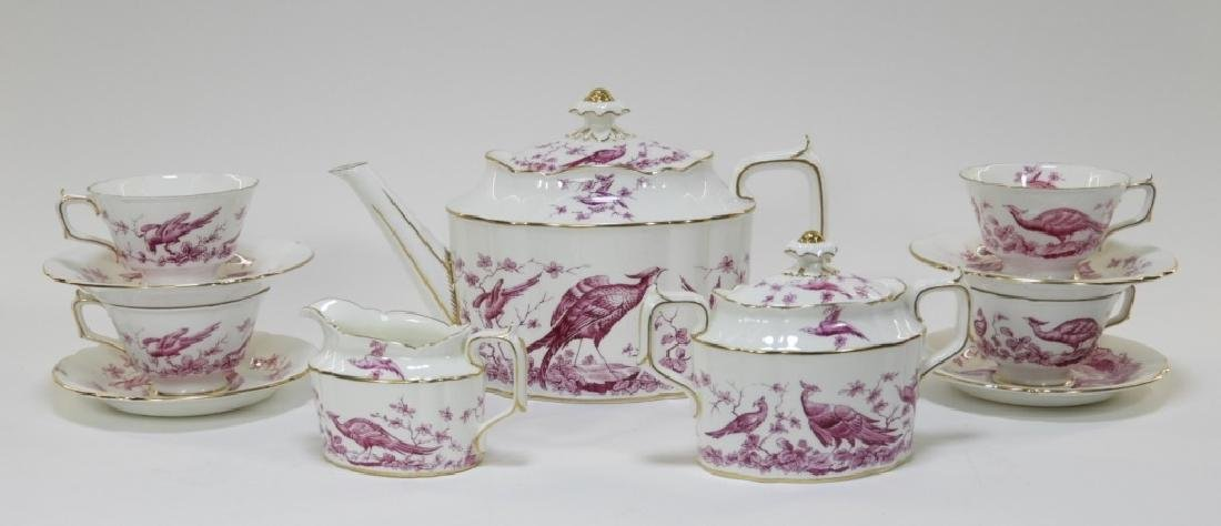 Royal Crown Derby Porcelain Pink Aves Tea Set