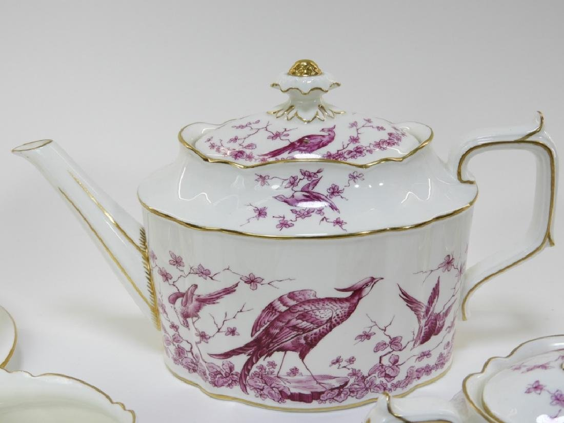 Royal Crown Derby Porcelain Pink Aves Tea Set - 2