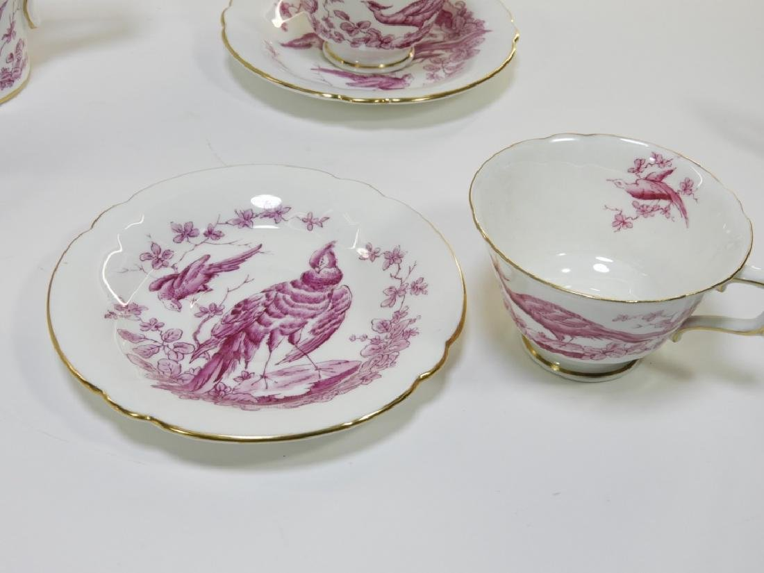 Royal Crown Derby Porcelain Pink Aves Tea Set - 4