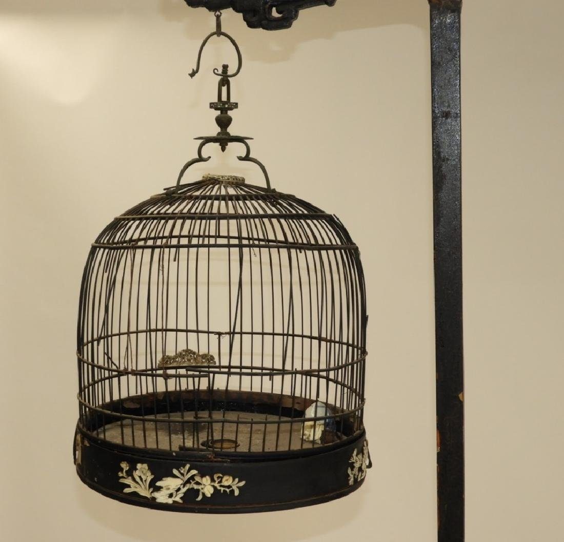 Chinese Carved Hardwood Birdcage with Stand - 3