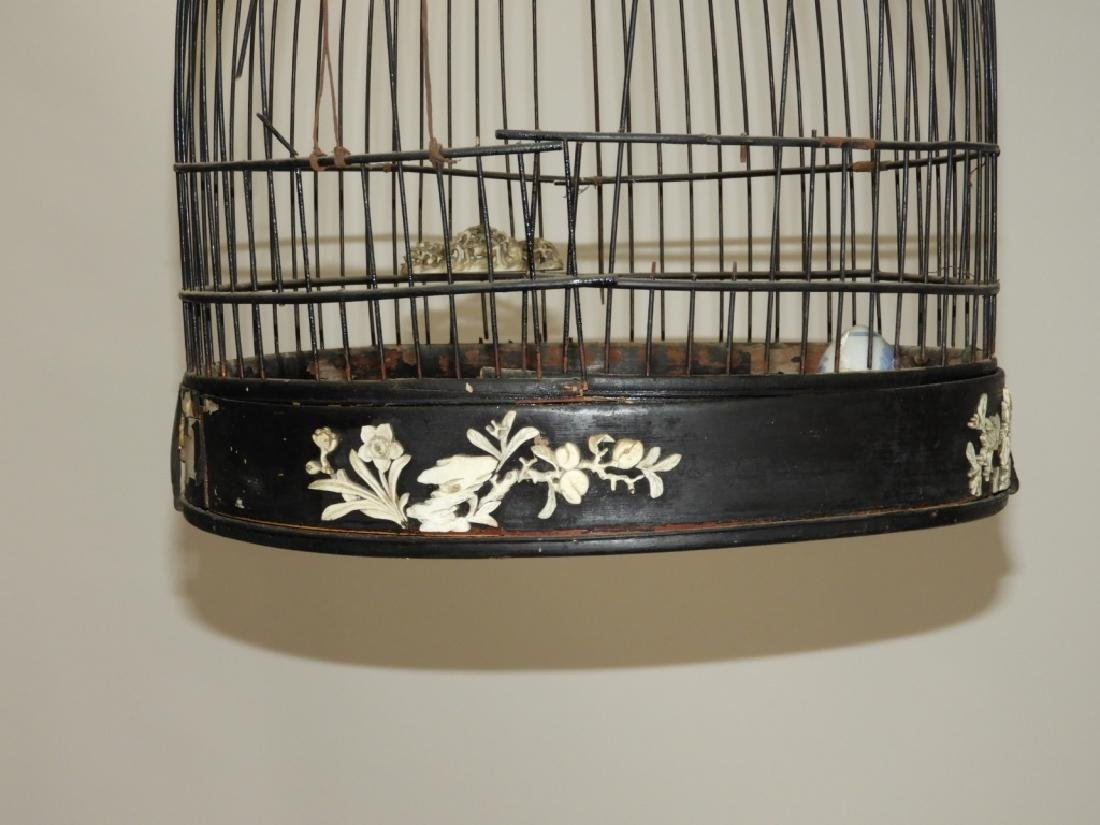Chinese Carved Hardwood Birdcage with Stand - 4