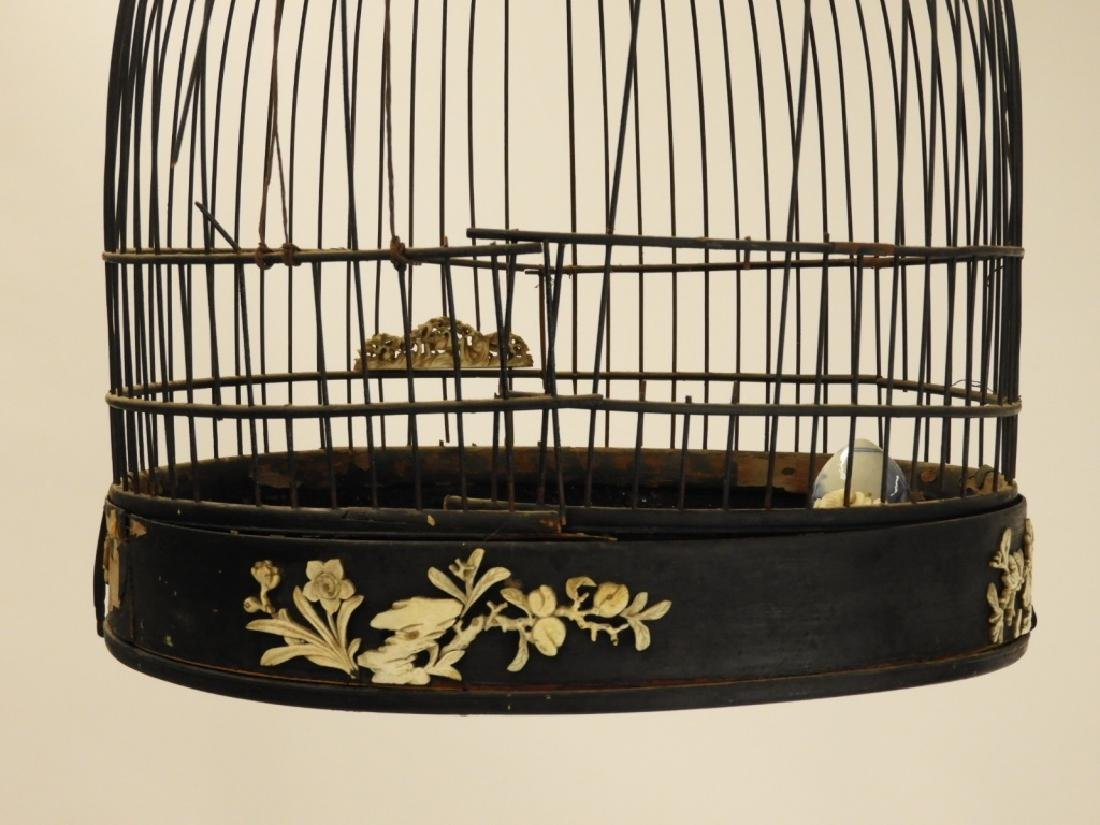 Chinese Carved Hardwood Birdcage with Stand - 5