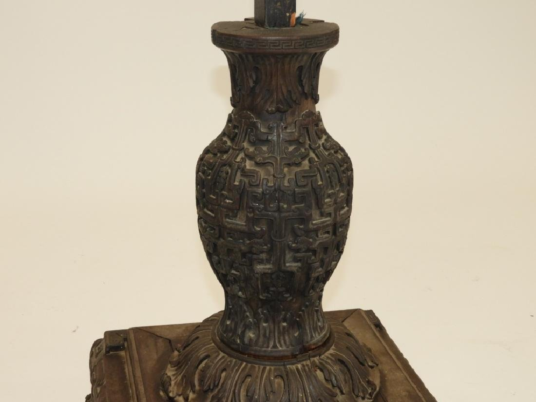 Chinese Carved Hardwood Birdcage with Stand - 7