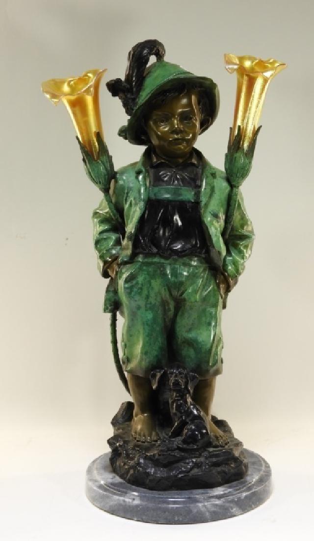 Haubner Bronze Alpine Boy & Dog Figural Lamp
