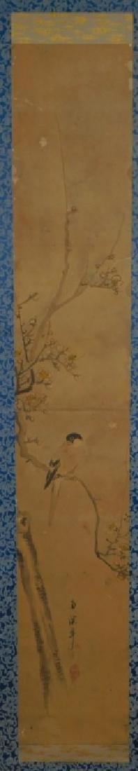 19C. Chinese Avian Landscape Scroll Painting