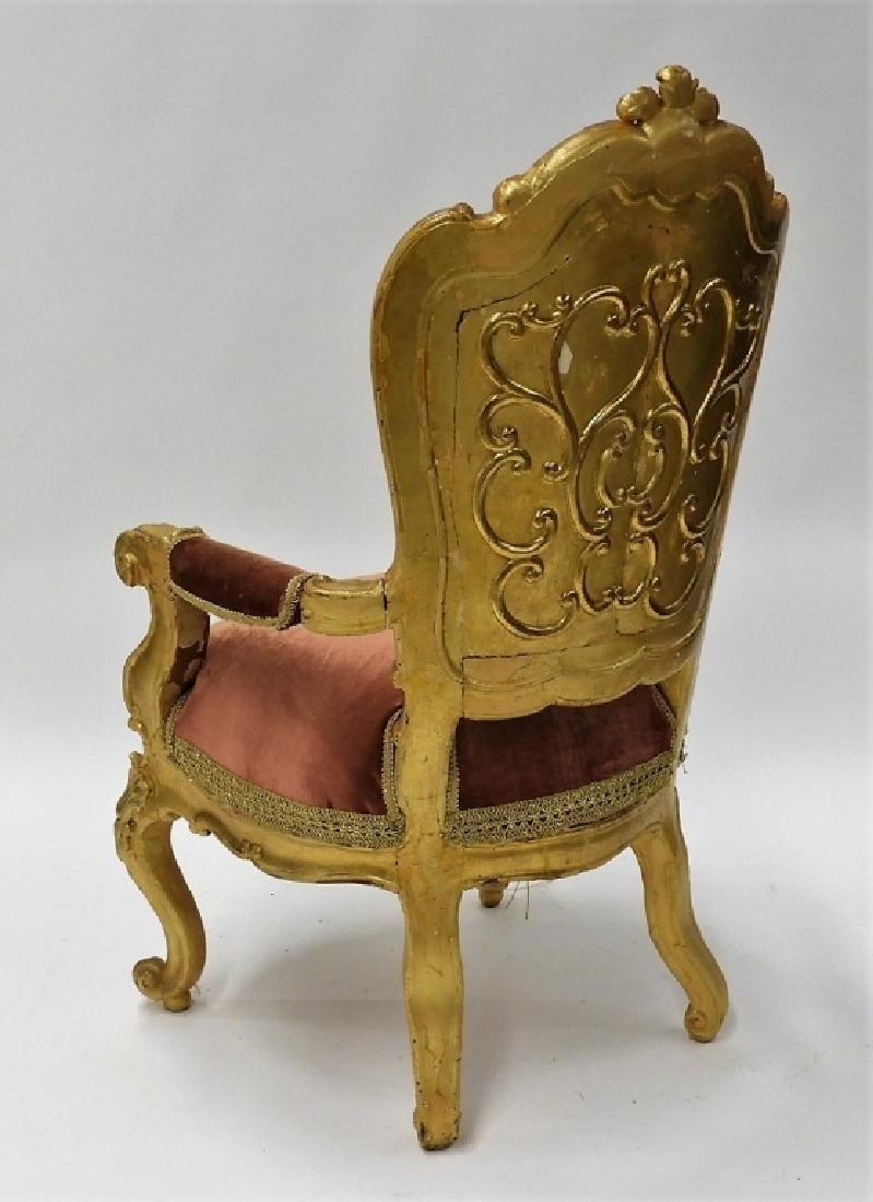 18C. French Louis XV Period Gilt Armchair - 10