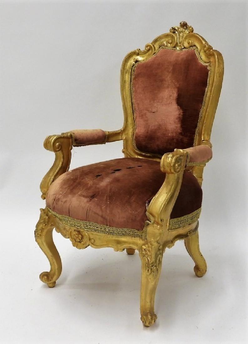 18C. French Louis XV Period Gilt Armchair