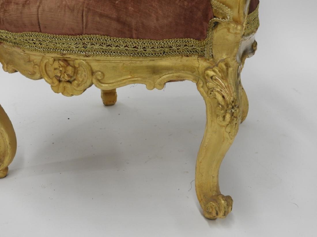18C. French Louis XV Period Gilt Armchair - 3