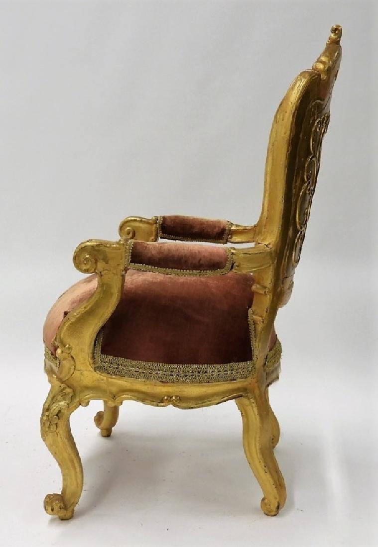 18C. French Louis XV Period Gilt Armchair - 5
