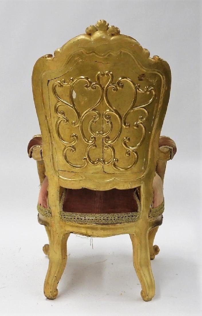 18C. French Louis XV Period Gilt Armchair - 6