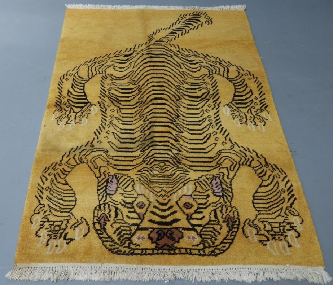 Tibetan Sprawled Tiger Decorative Wool Carpet Rug