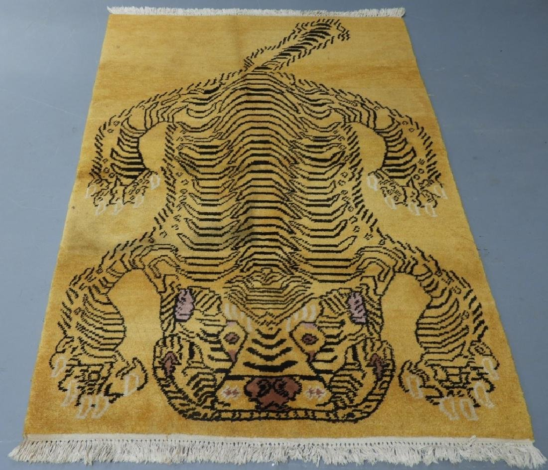 Tibetan Sprawled Tiger Decorative Wool Carpet Rug