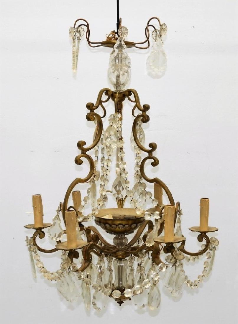Antique French Bronze Cut Crystal Chandelier