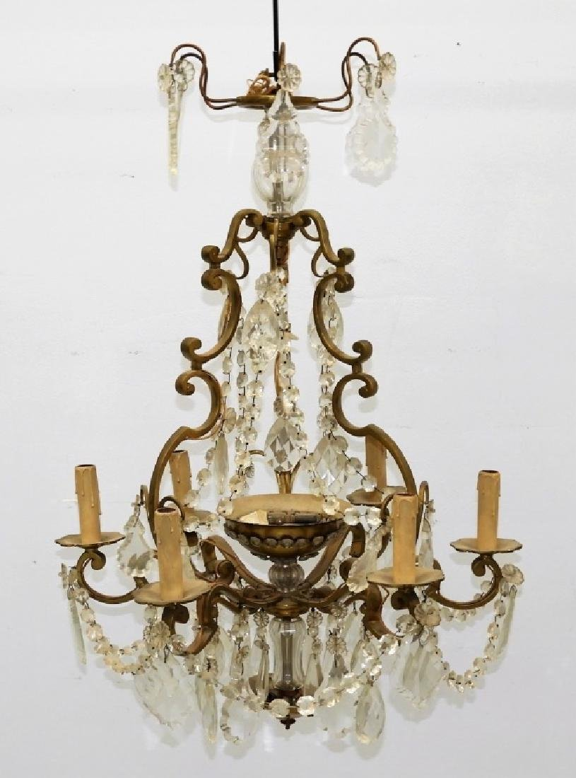 Antique French Bronze Cut Crystal Chandelier - 2