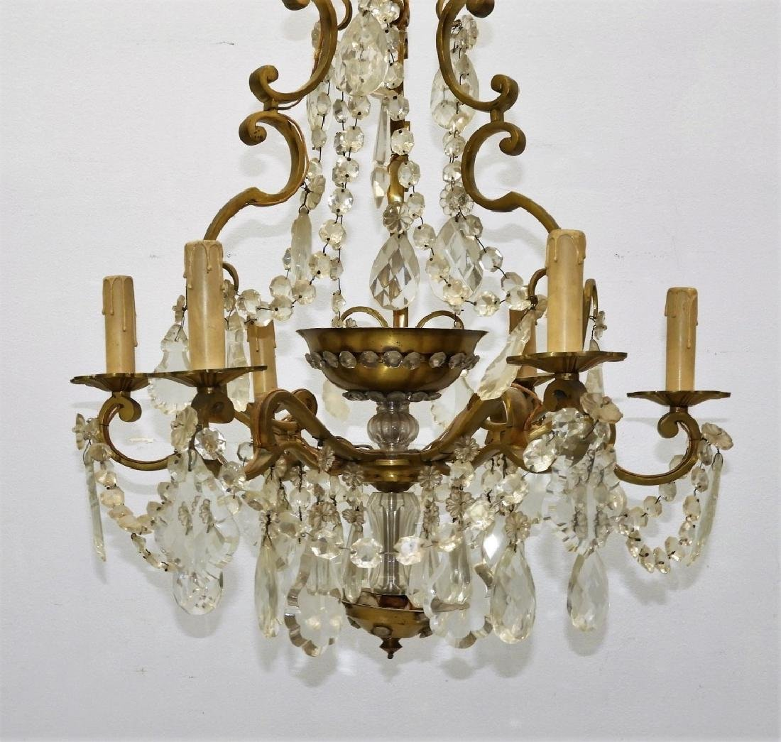 Antique French Bronze Cut Crystal Chandelier - 3